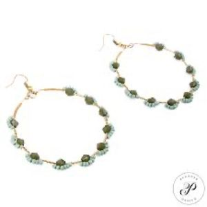 Plunder green and gold hoop earrings